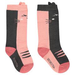 Σετ με 2 ζευγάρια ψηλές κάλτσες με γάτα ζακάρ και ριμπ ύφανση με διακοσμητικό σχέδιο