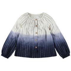 Παιδικά - Μακρυμάνικο πουκάμισο με εφέ tie and dye και ζακάρ ρίγες