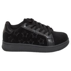 Χαμηλά αθλητικά παπούτσια βελουτέ με κορδόνια και κεντημένα αστεράκια