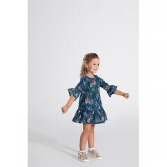 Φόρεμα με μανίκια 3/4, με μοτίβο σε χαβανέζικο στιλ και τίγρεις σε όλη την επιφάνεια