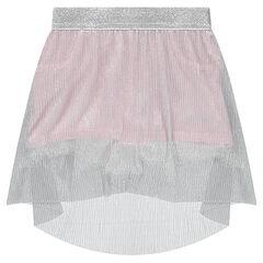 Φούστα-σορτσάκι με ασημί πλισέ φούστα από βουάλ ύφασμα
