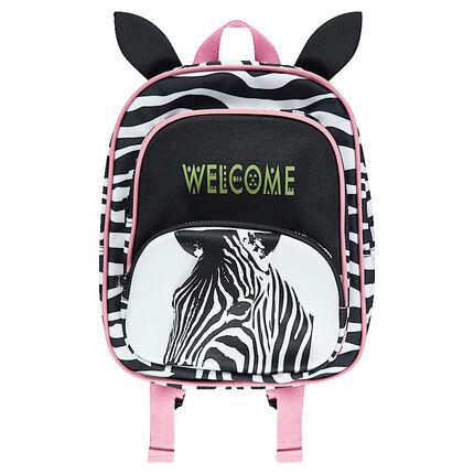 Τσάντα πλάτης με ραβδώσεις, ανάγλυφα αυτάκια και ροζ νότες