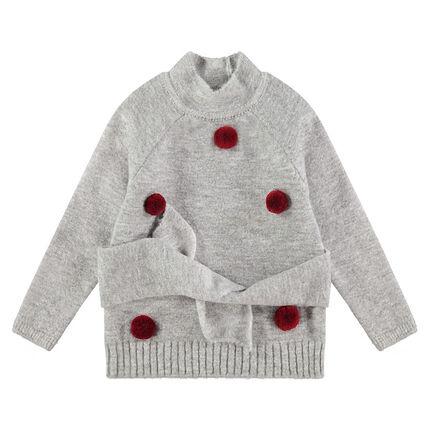 Απαλό πλεκτό πουλόβερ με φουντίτσες και κορδονάκια που δένουν στη μέση