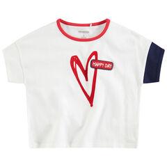 Κοντομάνικη ζέρσεϊ μπλούζα με τυπωμένη καρδιά και μπουκλέ σήμα