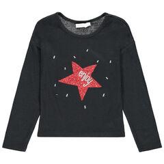 Μακρυμάνικη λεπτή μπλούζα με αστέρι από πούλιες