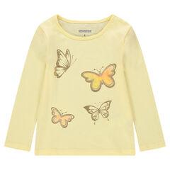 Μακρυμάνικη μπλούζα ζέρσεϊ με τυπωμένες χρυσαφί πεταλούδες