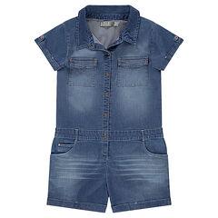 Παιδικά - Κοντή ολόσωμη φόρμα από σαμπρέ βαμβακερό ύφασμα με ελαστάνη σε φθαρμένη όψη με τσέπες