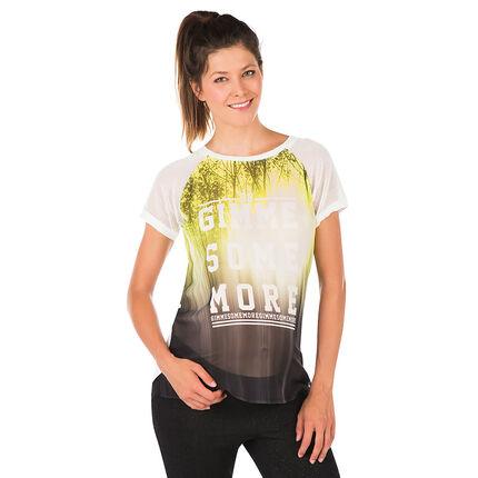 Κοντομάνικη μπλούζα εγκυμοσύνης με μοτίβο και όψη βουάλ υφάσματος