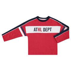 Παιδικά - Μακρυμάνικη μπλούζα σε τετράγωνη γραμμή με λωρίδες σε αντίθεση