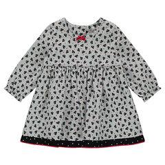Μακρυμάνικο εμπριμέ φόρεμα με μοτίβο γάτες και βελούδινο φιογκάκι