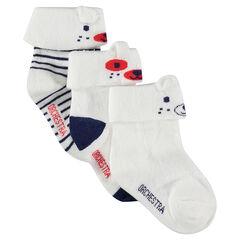 Σετ 3 ζευγάρια κάλτσες με ρεβέρ, ζακάρ μοτίβο και ανάγλυφα αυτάκια