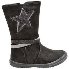 Μπότες με μεταλλιζέ όψη και ασημί αστέρι στο πλάι