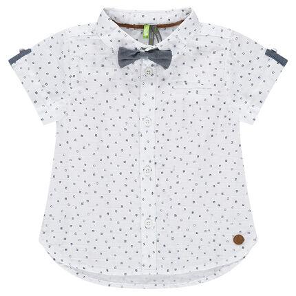 Κοντομάνικο πουκάμισο με εμπριμέ μοτίβο και παπιγιόν