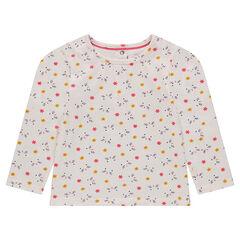 Μακρυμάνικη μπλούζα ζέρσεϊ με εμπριμέ μοτίβο λουλούδια