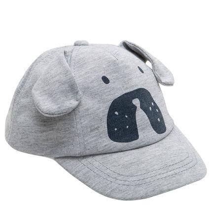 Καπέλο από ζέρσεϊ με μελανζέ όψη, ανάγλυφα αυτάκια και στάμπα σκύλο