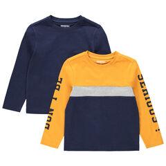 Σετ 2 μακρυμάνικες μπλούζες, μία μονόχρωμη / μία τρίχρωμη με τυπωμένες φράσεις
