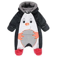 Βελουτέ ολόσωμο μπουφάν με επένδυση από sherpa και κεντημένο πιγκουίνο