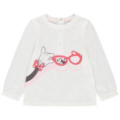 Μακρυμάνικη μονόχρωμη μπλούζα με στάμπα την Minnie της Disney
