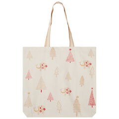 Tote bag en coton recyclé à motifs esprit Noël all-over , Prémaman