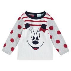 Πλεκτό πουλόβερ με ρίγες και μοτίβο ζακάρ με τη Minnie της ©Disney