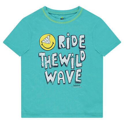 Παιδικά - Κοντομάνικη μπλούζα ζέρσεϊ με στάμπα ©Smiley και μήνυμα