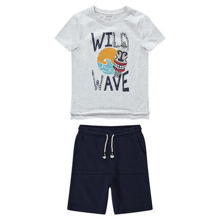 Παιδικά - Σύνολο μπλούζα με έθνικ τύπωμα και βερμούδα