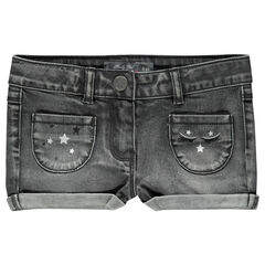 Short en jeans effet used avec print et broderies