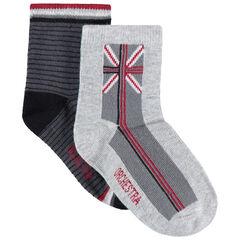 Lot de 2 paires de chaussettes assorties rayées / drapeau en jacquard