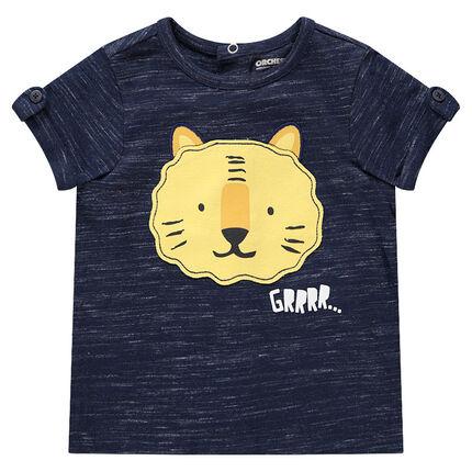 Κοντομάνικη μπλούζα από μελανζέ ζέρσεϊ με στάμπα τίγρη