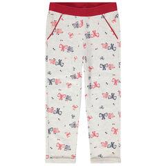Παντελόνι φόρμας από μελανζέ φανέλα με τυπωμένα φιογκάκια