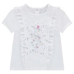 Κοντομάνικη μπλούζα από ζέρσεϊ με βολάν και τυπωμένα λουλούδια