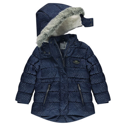 Καπιτονέ μπουφάν με τύπωμα αστέρια, με αφαιρούμενη κουκούλα και επένδυση sherpa