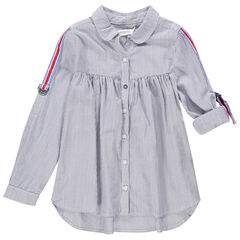Μακρυμάνικο πουκάμισο με λεπτές ρίγες και τρίχρωμες λωρίδες