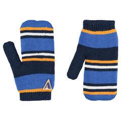 Πλεκτά ριγέ γάντια με σήμα από καουτσούκ και επένδυση από sherpa