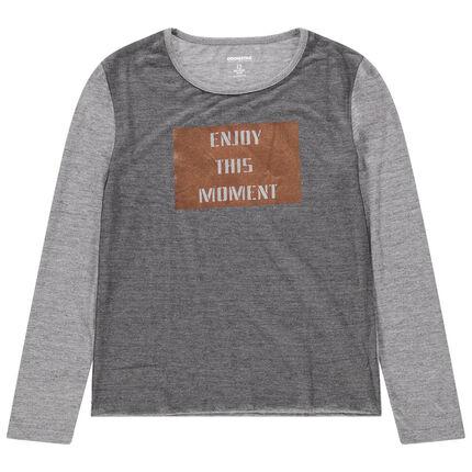 Παιδικά - Μακρυμάνικη μπλούζα ζέρσεϊ με γυαλιστερό μήνυμα