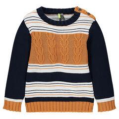 Πλεκτό πουλόβερ με ζακάρ ρίγες και πλέξη με κοτσίδες