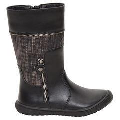 Μαύρες μπότες με φερμουάρ και φαντεζί τμήμα
