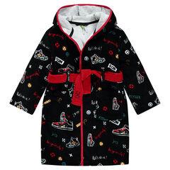 Μπουρνούζι με κουκούλα πετσετέ και διάσπαρτο σχέδιο