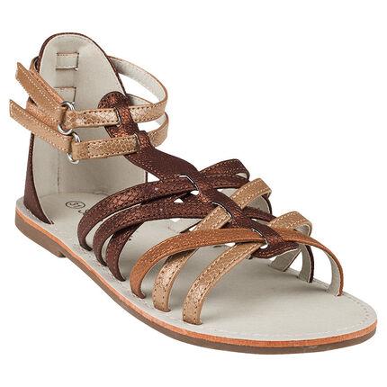 Nu-pieds coloris marron et doré à lanières et scratchs
