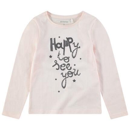 Μακρυμάνικη μπλούζα σε απαλό ροζ με τυπωμένο μήνυμα