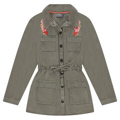 Παιδικά - Σακάκι σε στυλ σαφάρι με τσέπες και κεντήματα