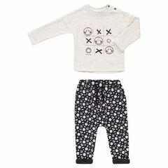 Φόρμα με μπλούζα με στάμπα ©Smiley και φανελένιο παντελόνι με επένδυση sherpa