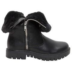 Χαμηλές μπότες από συνθετικό δέρμα με γούνινη επένδυση και φερμουάρ
