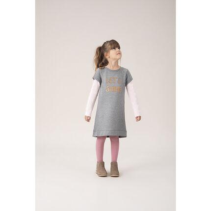 Κοντομάνικο φόρεμα από φανέλα με τυπωμένο μήνυμα με παγιέτες
