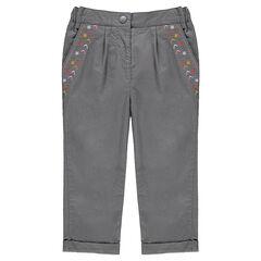 Βαμβακερό παντελόνι με κεντήματα