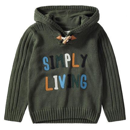 Πλεκτό πουλόβερ με κουκούλα και απλικέ γράμματα