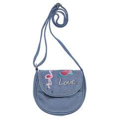 Τσάντα ώμου με φαντεζί τρουκ και πολύχρωμα κεντήματα