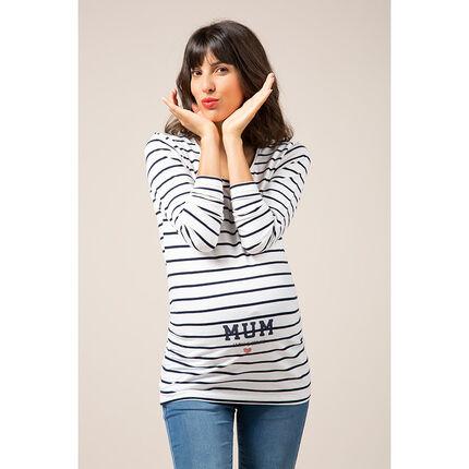 Μακρυμάνικη μπλούζα με ρίγες και διακοσμητικό σχέδιο