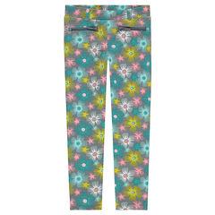 Κολάν σε ύφανση milano με χρωματιστά λουλούδια σε όλη την επιφάνεια και τσέπες με φερμουάρ