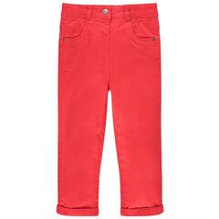 Μονόχρωμο παντελόνι κόκκινο από τουίλ με ζέρσεϊ επένδυση και τσέπες σε σχήμα γάτας